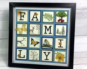 Famille Sampler - décoration d'intérieur - Art mural - Stampin '! Papier Sampler - cadre de décoration d'intérieur - Tenture murale - fabriquées à la main avec l'Art - affichage mural
