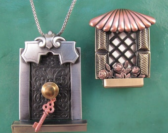 Architectural Door and Window Set- Key to the Castle- European Window- mixed metal jewelry