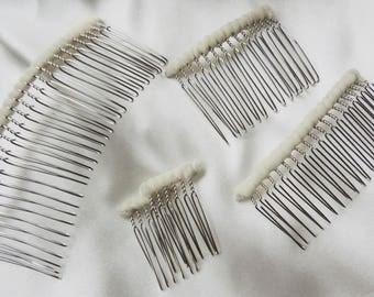 Wedding veil comb DIY twisted wire metal comb silver tone tulle wrapped ready to make a veil or fascinator
