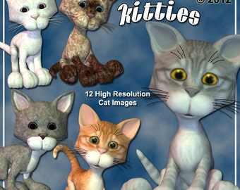 Kitties Cat Digital Clip Art for Scrapbooking, Birthday Card Making & More 12 Cute Kitten Clipart