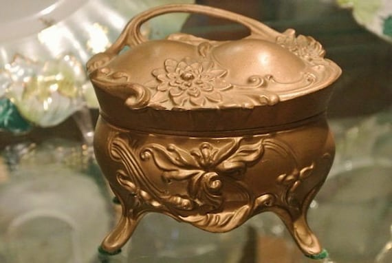 Antique Jewelry Casket / Repousse / Ormolu