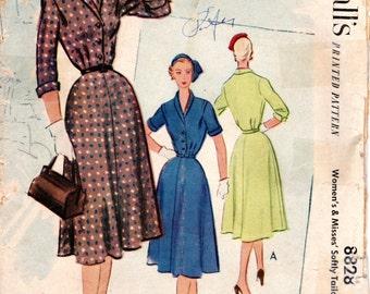 1950s Tailored Shirtdress Shirtwaist Pattern - Vintage McCall's 8828 - B30