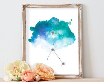 Cancer zodiac art print, AStrology gift, Cancer constellation print, Printable art, Horoscope art, Constellation poster, Watercolor decor