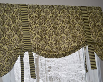 Window Valance, Tie Up Window Valance, Olive Green and Chocolate brown Valance, Green and Brown Window Valance