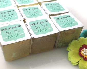 "Bridal Shower Favors - Soaps Custom ""Mint to Be"" Mojito Mint Soaps - Wedding Favors - Fun & Unique"