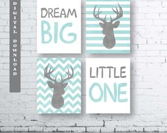Aqua Dream Big Little One Deer Prints-Set of Four (4)-Instant Download-Baby.Decor.Nursery.Dream Big Little One Nursery. Aqua Deer. Sets.Aqua