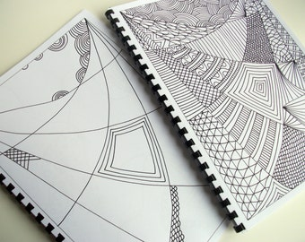 Cyber Monday Etsy 2 Coloring Books, Zentangle Inspired Coloring Pattern to Finish and Color. Printable Books