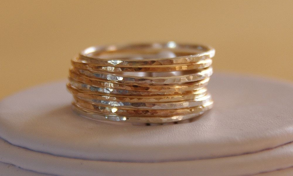 gold stacking rings/ gold stackable rings- mix and matched rustic jewelry