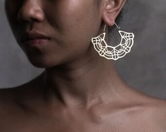 Marigold Hoop Earrings - Boho Jewelry - Hoop Earrings - Lace Earrings - Geometric Jewelry