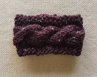 Cable knit earwarmer headband - chunky knit purple tweed