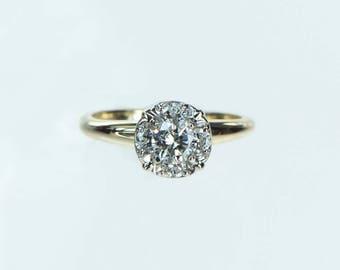Vintage 1960s Diamond Halo Engagement Ring .26ct