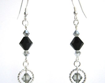 Black Crystal Earrings, Jet Black Drop Earrings, Fancy Bicone Earrings, Black and Silver Elegant Fashion Earrings