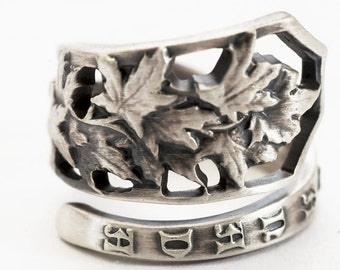 Maple Leaf Ring, Canada Maple Leaf Jewelry, Sterling Silver Spoon Ring, Unique Ring Gift, Nature Inspired Jewelry, Custom Ring Size (6084)