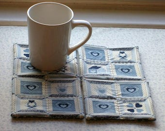blue americana vintage fabric  hand quilted set of mug rugs coasters