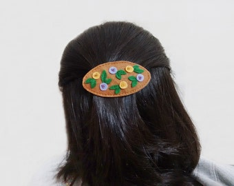Floral french clip, Brown barrette, Felt hair clasp