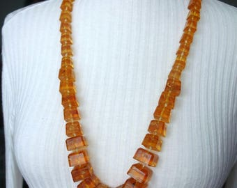 Vintage Faux Amber Knotted Necklace