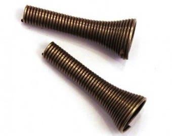 Bead caps cone spiral bronze 25mm (set of 4)