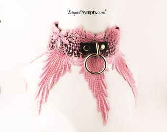CUSTOM WICKED 3- piece set lining Pink Bondage Black Leather BDSM Collar - Pink Lace Locking