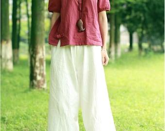 Loose linen harem pants wide legged trousers white trousers linen culottes maxi linen pants baggy pants yoga pants handmade