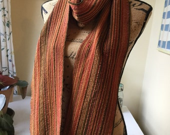 Handwoven silk and rayon blend autumn toned scarf