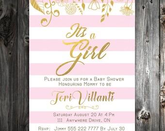 Pink Gold Baby Shower Invitation - Digital Download