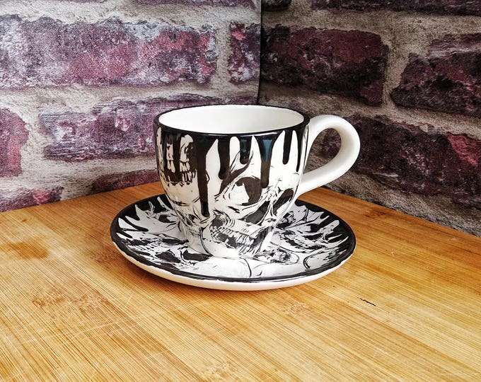 Cup and Saucer, Skull Design, Skull Mug, Gothic tea set, English tea coffee, Hand Painted Ceramic, Unique xmas gift, Weird and Wonderful