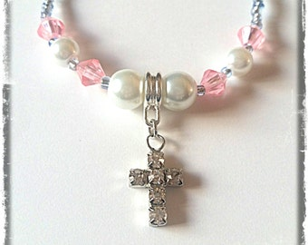 Jeweled Christian Cross Beaded Necklace made with Glass and Acrylic Beads (matching hearing aid charms available at discounted bundle price)