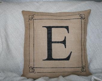Burlap Monogram Pillow, Personalized Pillow, Custom Pillow, Initial Pillow, Decorative Pillow, 16x16, Hostess Gift, Burlap Pillow