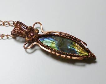 Leaf pendant, labradorite pendant, labradorite leaf, copper pendant, blue pendant