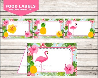 Flamingo Food Labels instant download, Pineapple Tent cards , Pink Party Pool Party Food tent cards