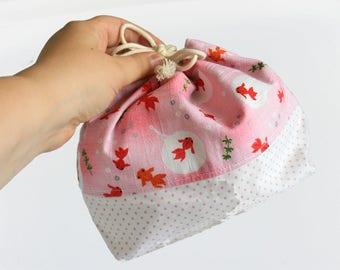 Japanese Cotton Bento Bag, Sandwhich Bag, Snack Bag, Lunch Bag, Lunch Tote, Drawstring Bag, Cotton Bag, Kimono Fabric, Kawaii Goldfish
