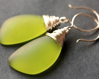 Olive Green Seaglass Earrings. Olive Green Earrings. Olive Green Sea Glass Earrings. Wire Wrapped Wing Earrings. Handmade Jewelry.