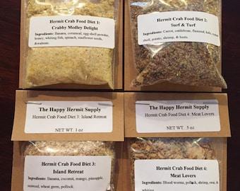 Sampler of Each Hermit Crab Food Diet