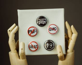 Animal Rights Pin | Buttons | Pin | Punk Button | Punk Pin | Pinback Pin | Meat is Murder Pin | Friends not food Button | Fur Pin | Pin Pack