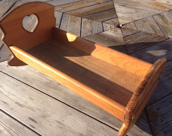 """Vintage hand made Solid Wood rocking doll cradle 18"""" American Girl Doll bed heart pegs quality"""