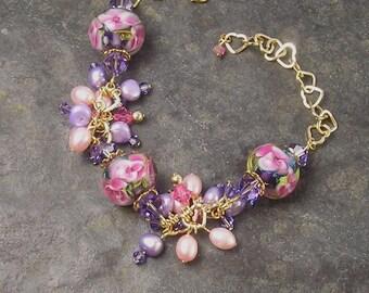 May Flowers, Dichroic glass, Lampwork Charm Bracelet, Pink  Roses, Lavender, Cluster Bracelet, Chunky Bracelet, designed by Xanna