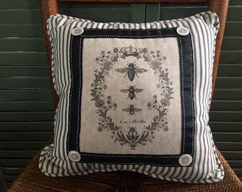 French Bee Trio Pillow, Printed Cotton Duck, Black Ticking French Country, French Farmhouse Decor, Black Toile Backing, French script Pillow