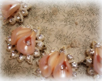 vintage celluloid and rhinestone necklace brass chain wedding worthy cream with pink bRilliant rhinestones