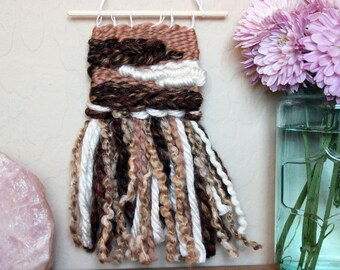Unique Neutral Tone Mini Wall Hanging - Bohemian Home Decor - Dorm Room Decoration - Gift for Her - Gift for Him - Shades of Brown Wall Art