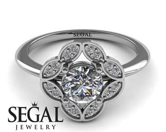 Flower Engagement Ring White Gold Edwardian Ring Antique Engagement Ring Moissanite Ring Vintage Ring Flower Engagement Ring - Lucy