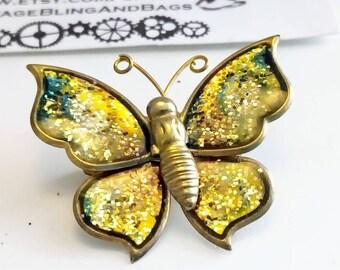 Vintage gold glitter butterfly pin, vintage butterfly pin, vintage butterfly brooch, butterfly brooch, butterfly pin, butterfly scatter pin
