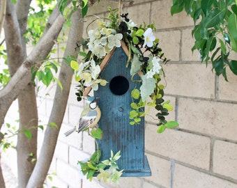 Blue Wooden Birdhouse (S18-144)