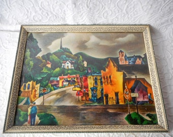 Vintage AAA Art Print of Small Town-Charming w/Intense Colors