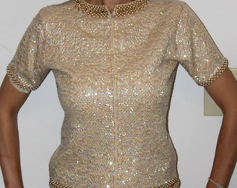 1950's Vintage beaded reversable short-sleeved  jacket