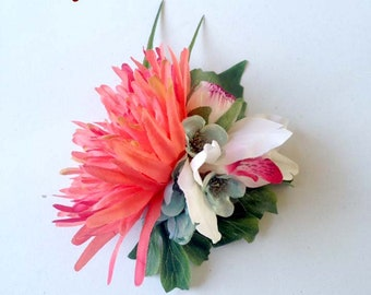 Coral Pink Chrysanthemum hair flower, Pin Up, Rockabilly, Vintage Hair style