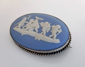Victorian Blue Jasperware Large Cameo Brooch. Cherubs & The Devil. Sterling Silver Frame. Antique Wedgwood English Cameo Jewelry Circa 1900