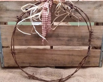 Barbed wire country wreath