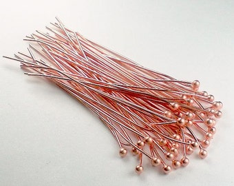 Solid Copper Ball Headpins 22 ga 2 inch 50mm 50 pcs. GC-169