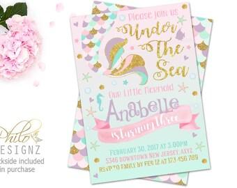 Mermaid Birthday Invitation, Mermaid Invitation, Under The Sea Birthday Invitation, Under The Sea Party, Mermaid Tail Invite