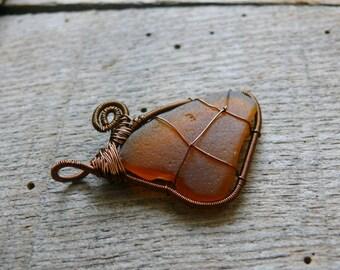 Heart sea glass, sea mermaid pendant, genuine sea glass jewelry, sea glass pendant, Birthday gift, brown copper wire, wire wrapped pendant